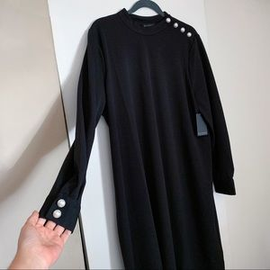 Eloquii Black Dress with Pearl Buttons